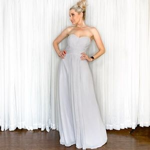 Let's Dresses - Grey Silver Strapless Long Bridesmaid Dress